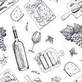 istock Wine and gourmet snacks seamless pattern. Cheese, meat, bread, grape hand drawn. Gourmet food pattern. 866757566