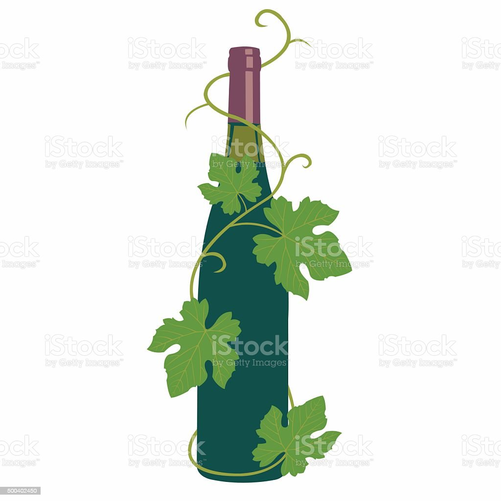 wine and grape leaves vector art illustration