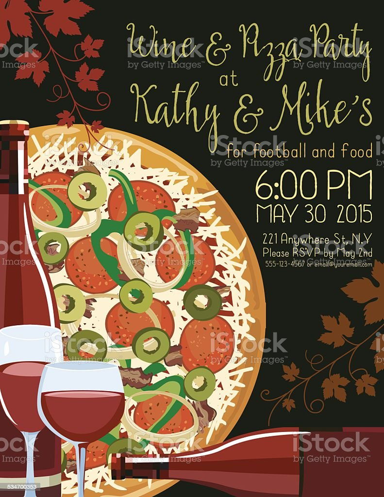 Wine And Pizza Party Invitation Template Stock Vector Art More - Pizza party invitation template