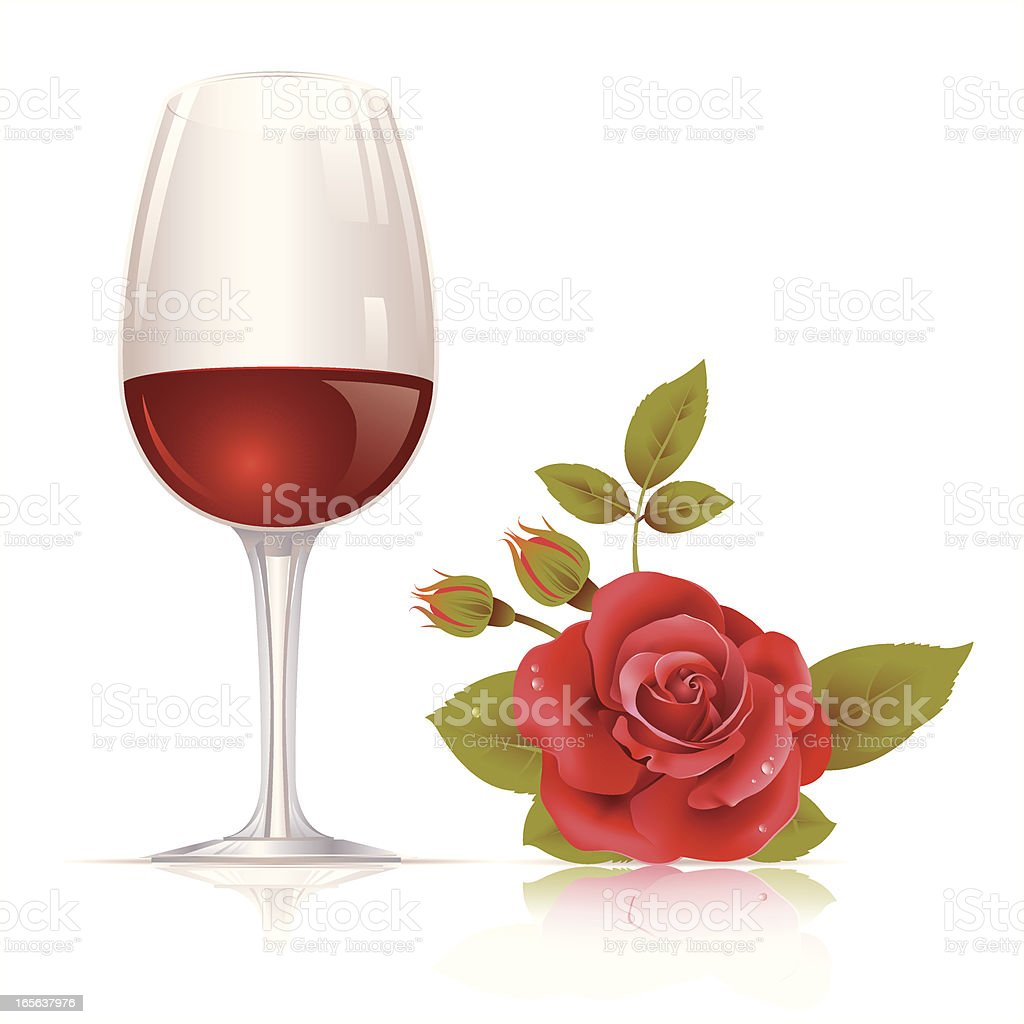 Wine and rose royalty-free stock vector art