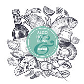 Alcoholic beverage and snack. Decoration with bottles of wine, glass with drink, ice slices, cheese, seafood, mint and lemon.Vintage hand drawing. Black on white background. Vector illustration art.