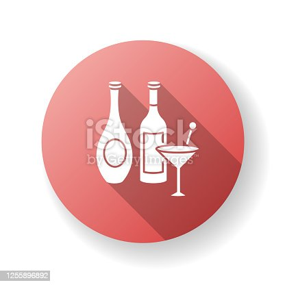 istock Wine and spirits red flat design long shadow glyph icon 1255896892