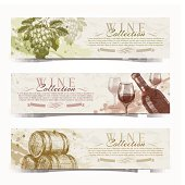 Wine and winemaking - vector grunge vintage banners with hand drawn elements.