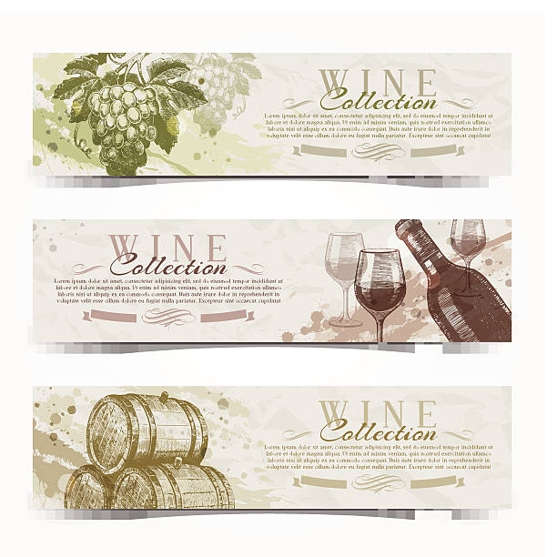 bildbanksillustrationer, clip art samt tecknat material och ikoner med wine and winemaking - vintage banners with hand drawn elements - vitt vin glas