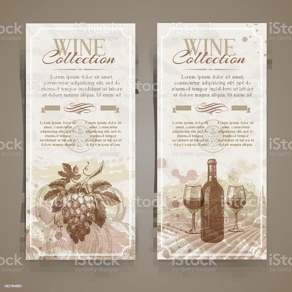Wine and winemaking - vintage banners with hand drawn elements royalty-free stock vector art