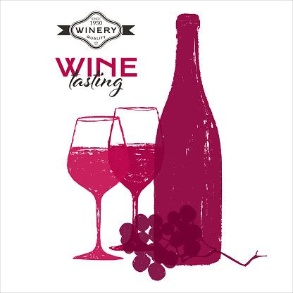 Wine Background design illustrations. Handmade drawing of wine glasses, wine bottle, vine grapes.
