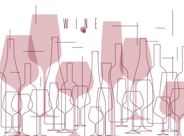 wine background with bottles and wineglasses. design element in modern style for tasting, menu, wine list, restaurant, winery, shop. - alcohol drink backgrounds stock illustrations
