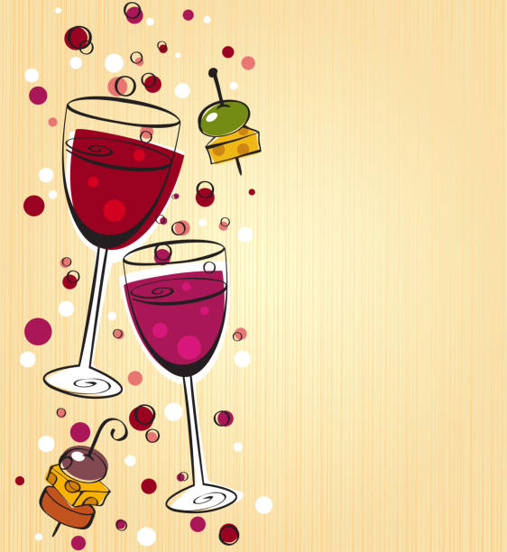 illustrazioni stock, clip art, cartoni animati e icone di tendenza di vino backgrounf - aperitivo