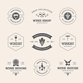 Set of black wine labels and badges isolated on light background
