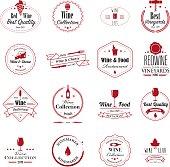 Winemaking and wine restaurant badges. Isolated on white. Eps8.