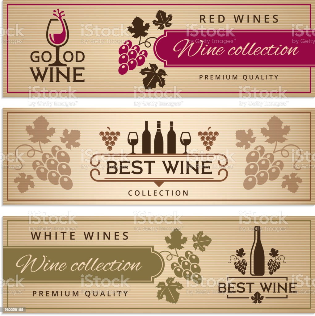 Wine banners set. Design template of vintage wine banners with place...