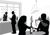 A vector silhouette illustration of a young couple driking wine at an upscale restaurant or bar.