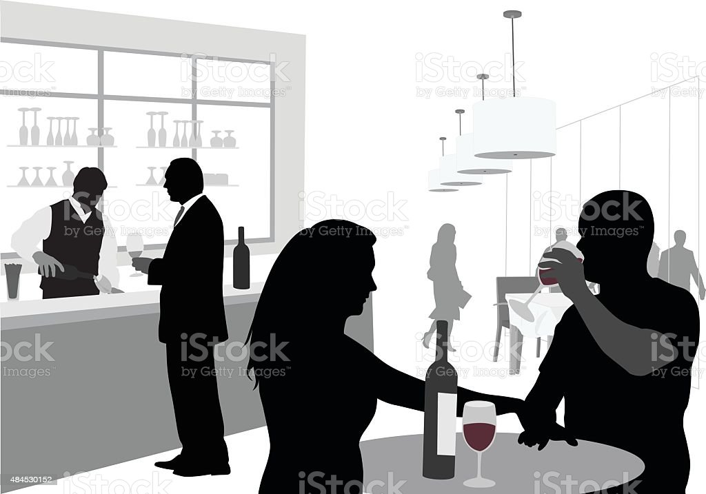 Wine Bar Couple Drinking vector art illustration