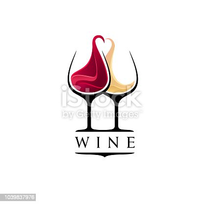 Wine bar design template. Red and white wine glasses