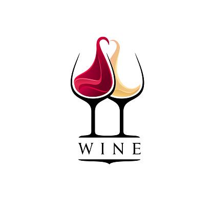 Wine bar design template. Red and white wine glasses