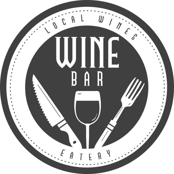Wine Bar Label with text designs as well as restaurant utensils vector art illustration