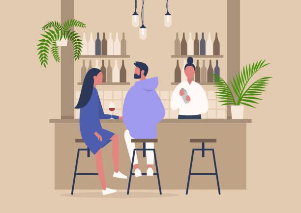 scena winiarni, barman i dwóch klientów, relaksująca atmosfera, wystrój wnętrz - bar lokal gastronomiczny stock illustrations
