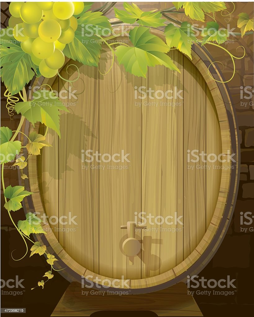 Wine Barrel and White Grapes royalty-free stock vector art