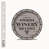 Wine barrel logo. Winery wine and spirits label on white background