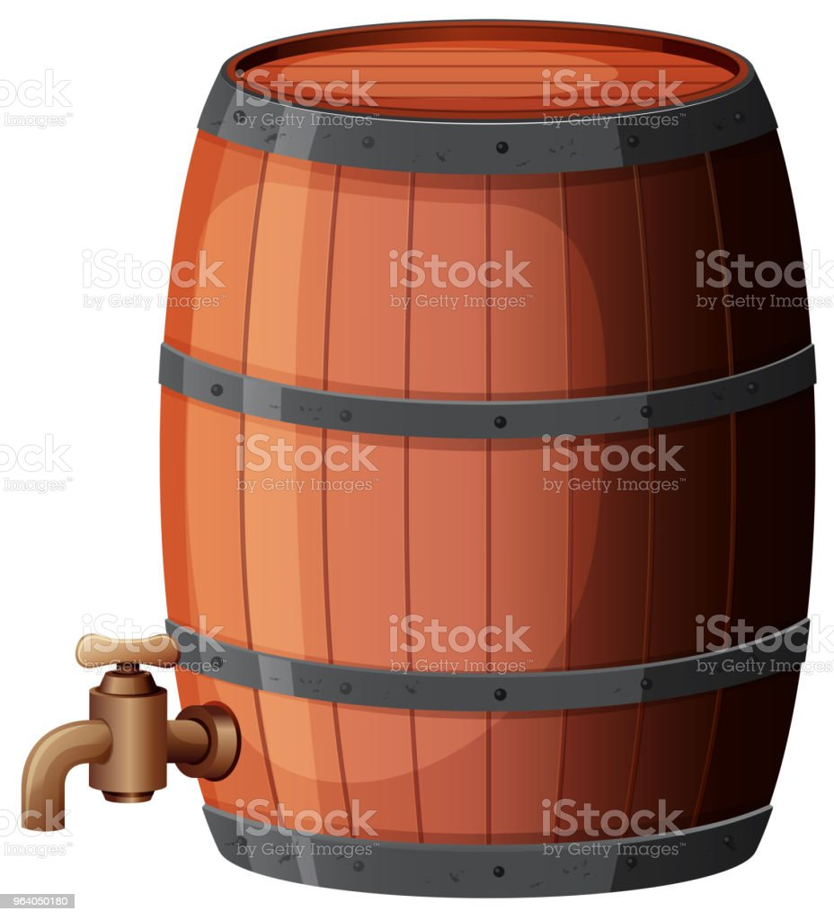 A Wine Barrel on White Background - Royalty-free Alcohol stock vector