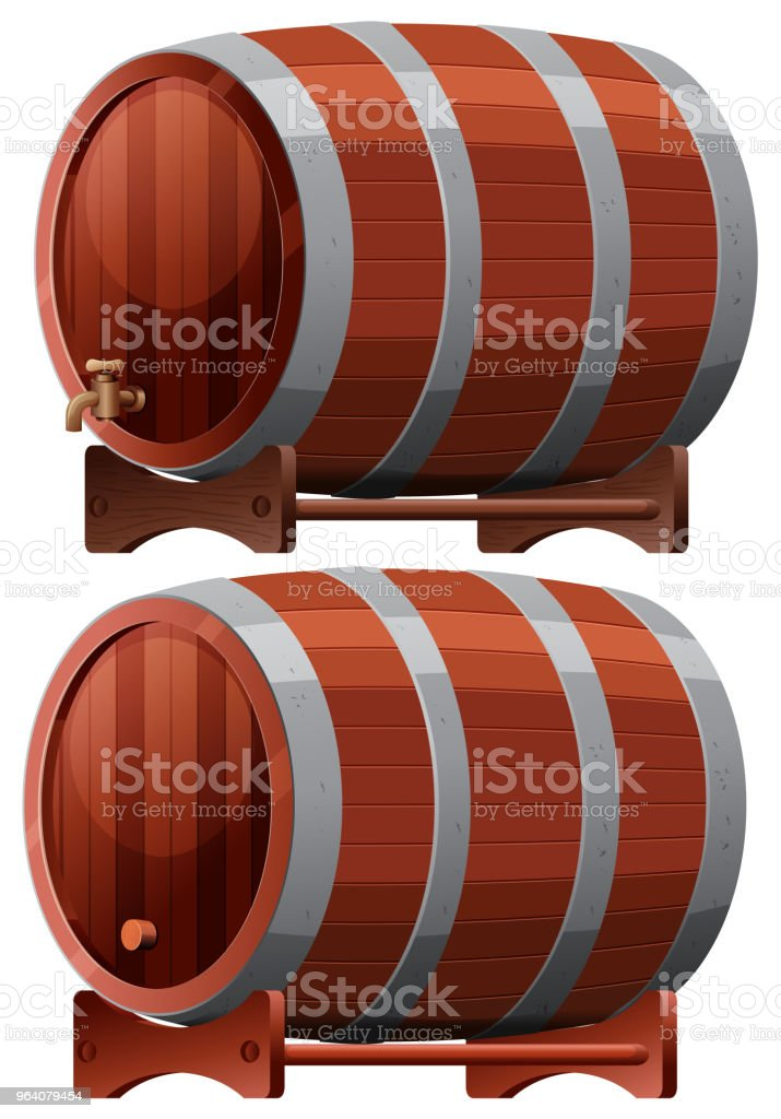 Wine Barrel on White Background - Royalty-free Alcohol stock vector