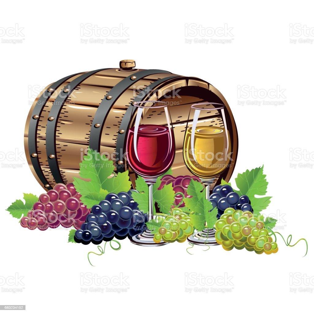 Wine barrel 免版稅 wine barrel 向量插圖及更多 剪裁圖 圖片