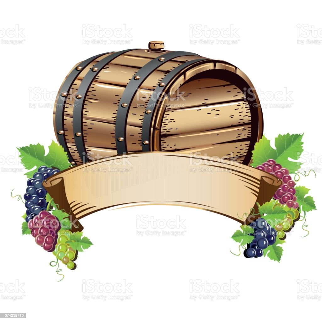 Wine barrel with bunches of grapes vector art illustration