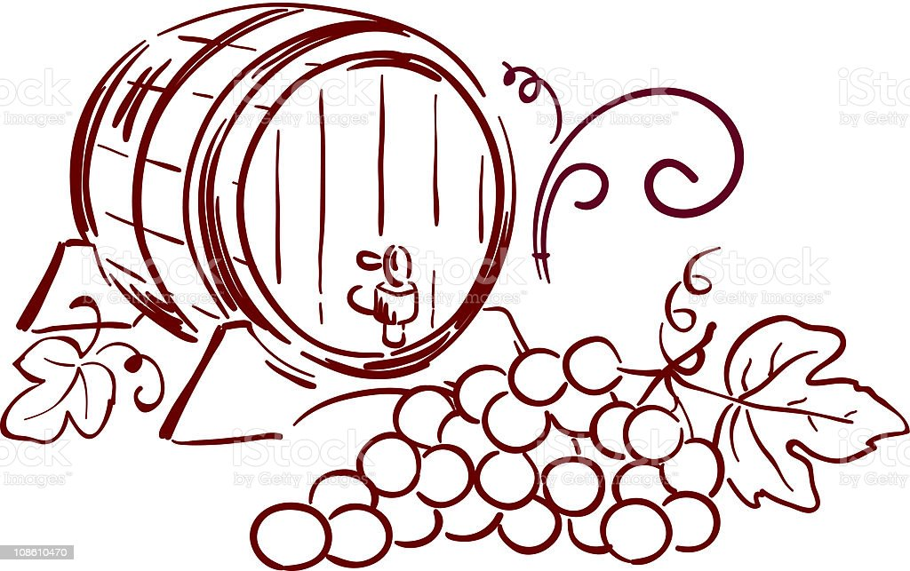 Wine barrels vector art illustration