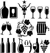 Wine black & white icon set