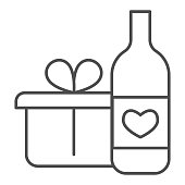 istock Wine Bottle And Gift Pack thin line icon. Bottle with heart symbol and present with ribbon outline style pictogram on white background. Winery signs for mobile concept and web design. Vector graphics. 1216982512