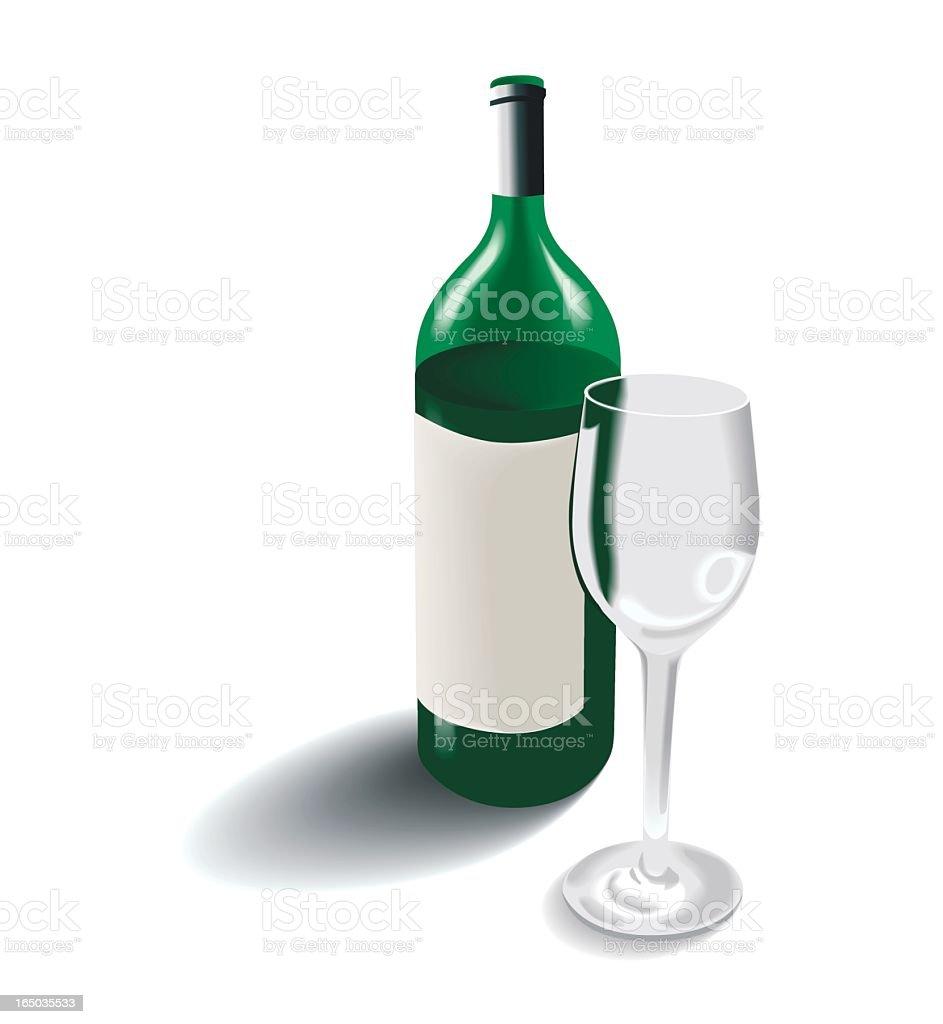 Wine bottle and glas vector art illustration