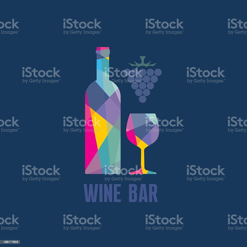 Wine Bottle and Glass - Abstract Illustration vector art illustration