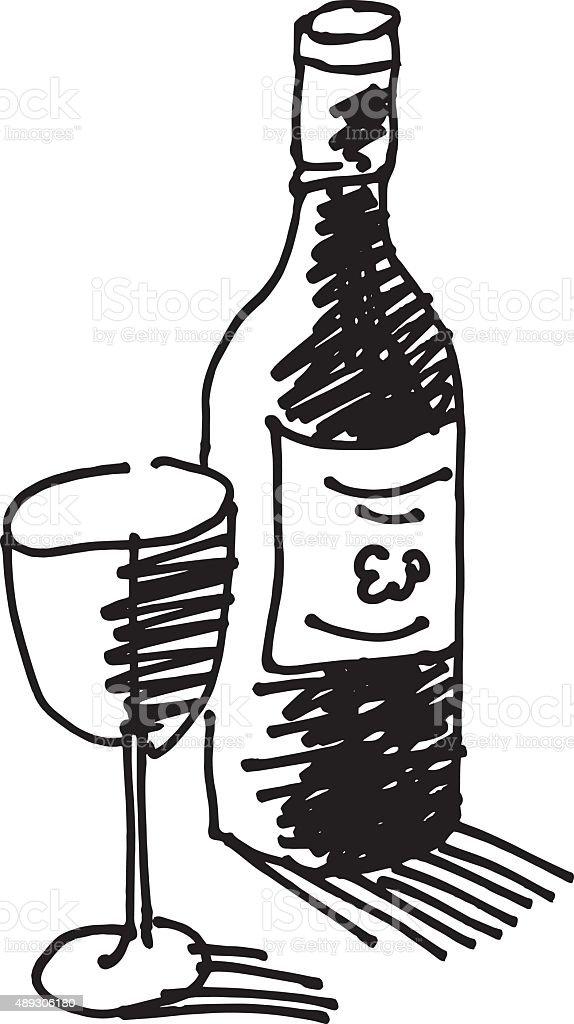 Wine bottle drawing