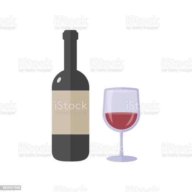 Butelka Wina I Szklana Płaska Konstrukcja - Stockowe grafiki wektorowe i więcej obrazów Alkohol - napój