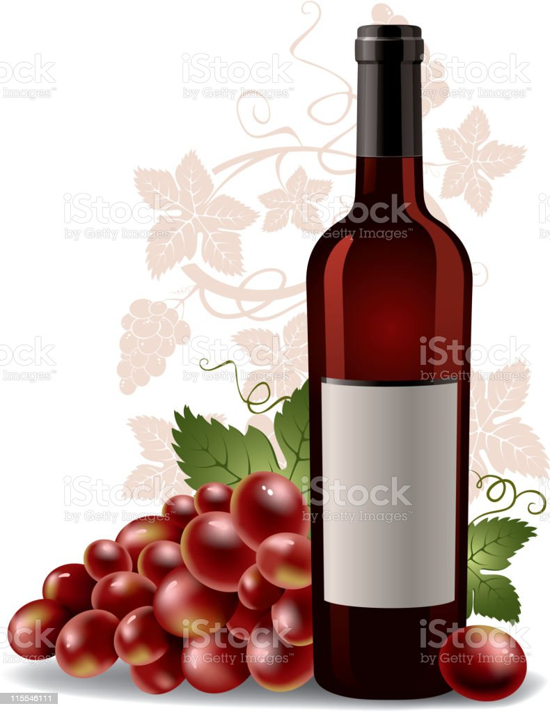 wine bottle and grape royalty-free stock vector art