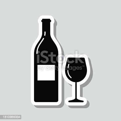 istock Wine bottle and wine glass. Icon sticker on gray background 1310955334