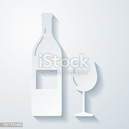 istock Wine bottle and wine glass. Icon with paper cut effect on blank background 1317131400