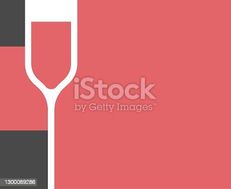 istock Wine bottle and wineglass design 1300089286