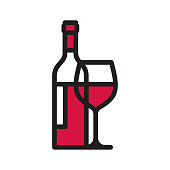 istock Wine bottle and wineglass line icon 1227206790