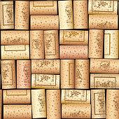 Wine bottle cork. Wooden tap. Seamless pattern. Design for wines cart. Sommelier collection. EPS10 vector illustration.