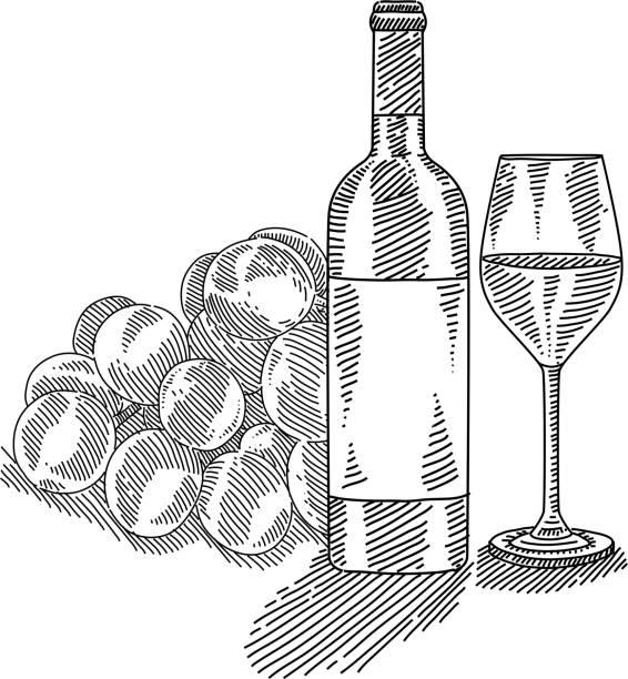 Royalty Free Wine Bottle Wine Black And White Line Art ...
