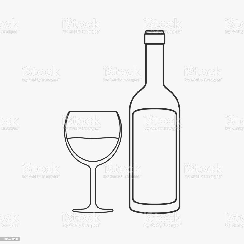 bouteille de vin verre noir mat esquisser icône du design – cliparts