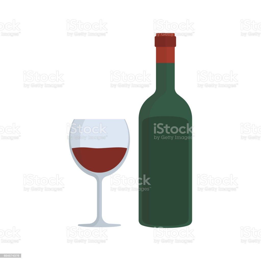 icône de design plat bouteille verre vin – cliparts vectoriels et