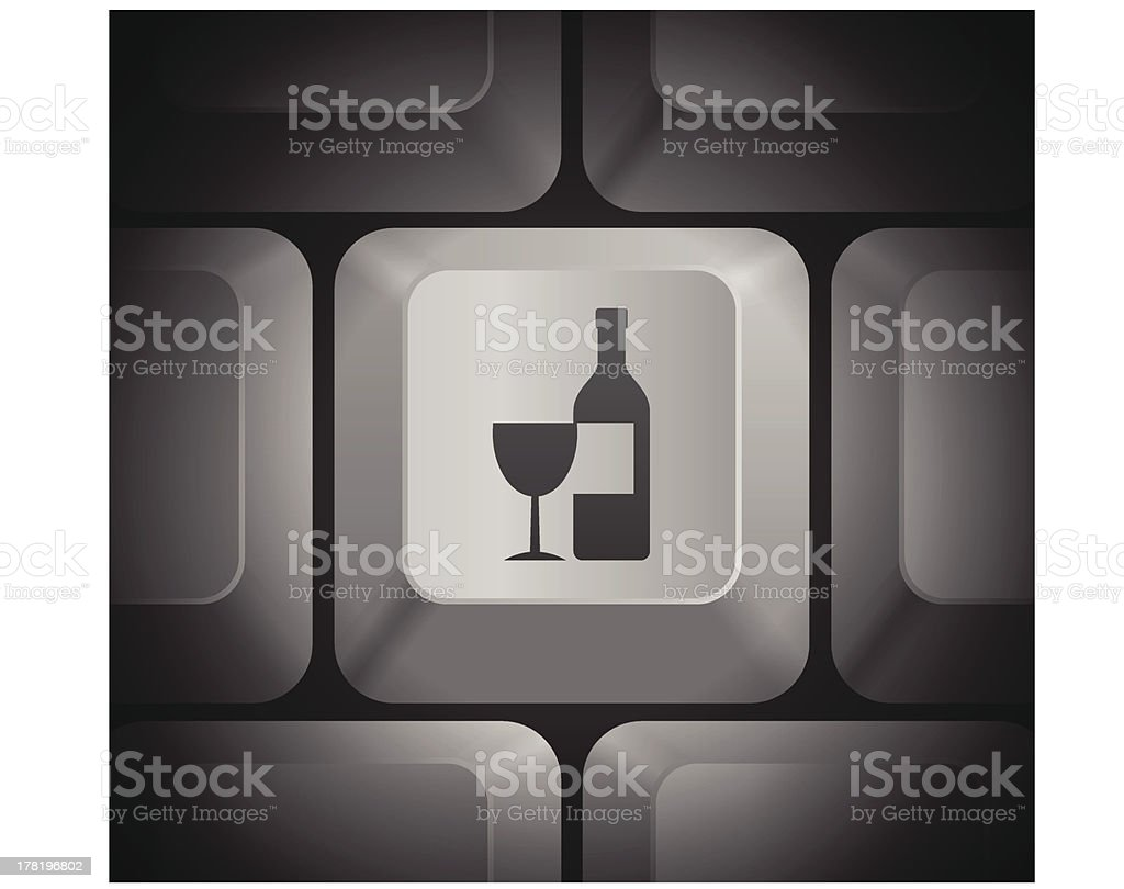 Wine & Bottle Icon on Computer Keyboard royalty-free stock vector art