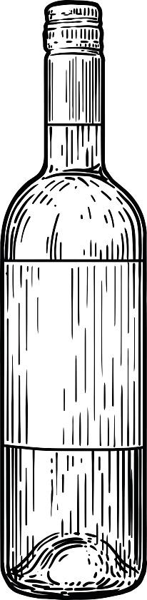 Wine Bottle Illustration Drawing Engraving Ink Line Art ...