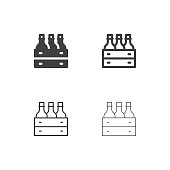 Wine Bottle in Wooden Crate Icons Multi Series Vector EPS File.