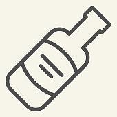 Wine bottle line icon. Alcohol beverage symbol, outline style pictogram on beige background. Merlot or Cabernet Sauvignon sign for mobile concept and web design. Vector graphics