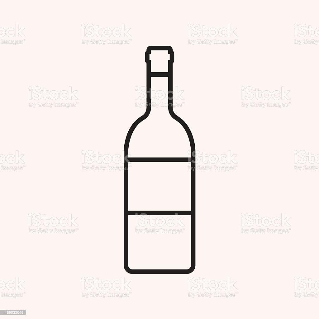 Wine bottle outline icon, modern minimal flat design style vector art illustration