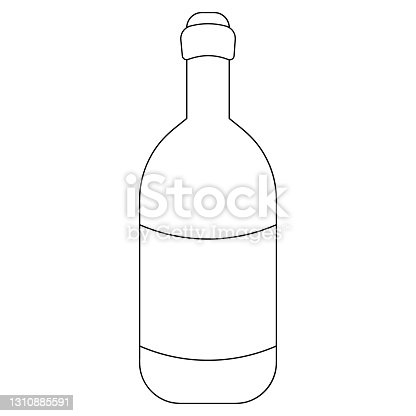 istock Wine bottle. Sketch. Vector illustration. Glass container with an alcoholic drink. A bottle with Easter cahors. Outline on an isolated white background. Doodle style. 1310885591