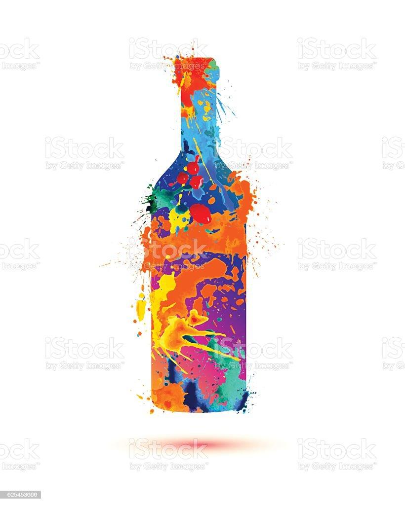 Wine bottle. Splash paint - Illustration vectorielle